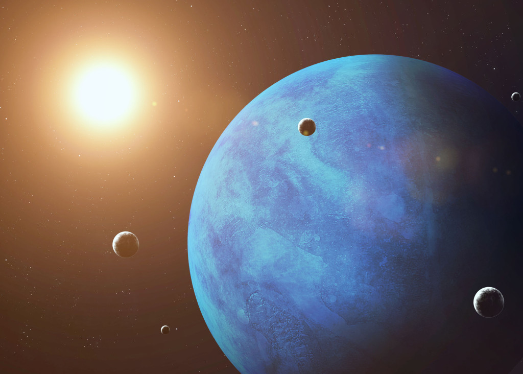 45841853 - colorful picture represents neptune and its moons.