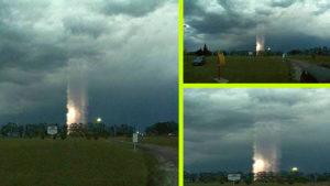 Rejtélyes égbe nyúló fényoszlop jelent meg a viharban