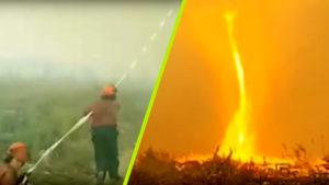 Hátborzongató tűztornádó alakult ki egy kandai erdőben