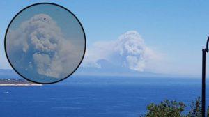 Hatalmas halálfej jelent meg a Vezúv felett gomolygó füstfelhőben